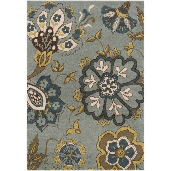 Contemporary Sea Blue Floral Fleetwood Area Rug - 5'3 X 7'6