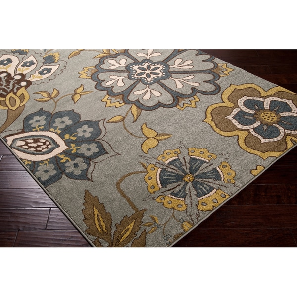 Contemporary Sea Blue Floral Fleetwood Area Rug (5'3 x 7'6) - 5'3 x 7'6