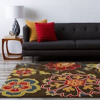 """Contemporary Brown Floral Flitwick Area Rug - 7'10"""" x 10'6"""""""