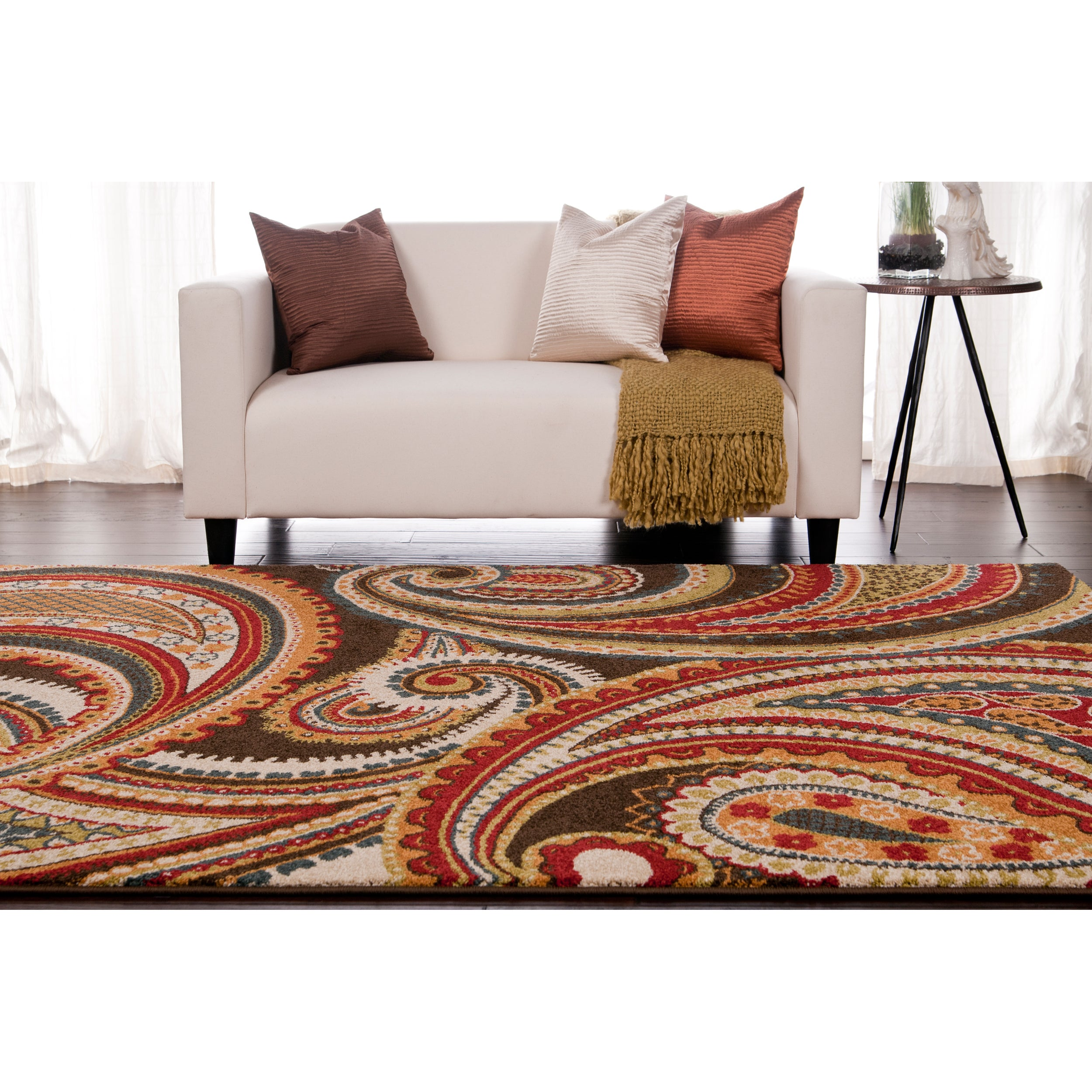 Meticulously Woven Contemporary Brown/ Red Floral Rug (5'...