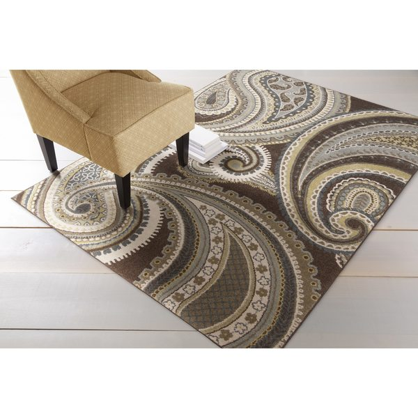 Contemporary Brown/Green Paisley Floral Folkestone Area Rug - 5'3 X 7'6