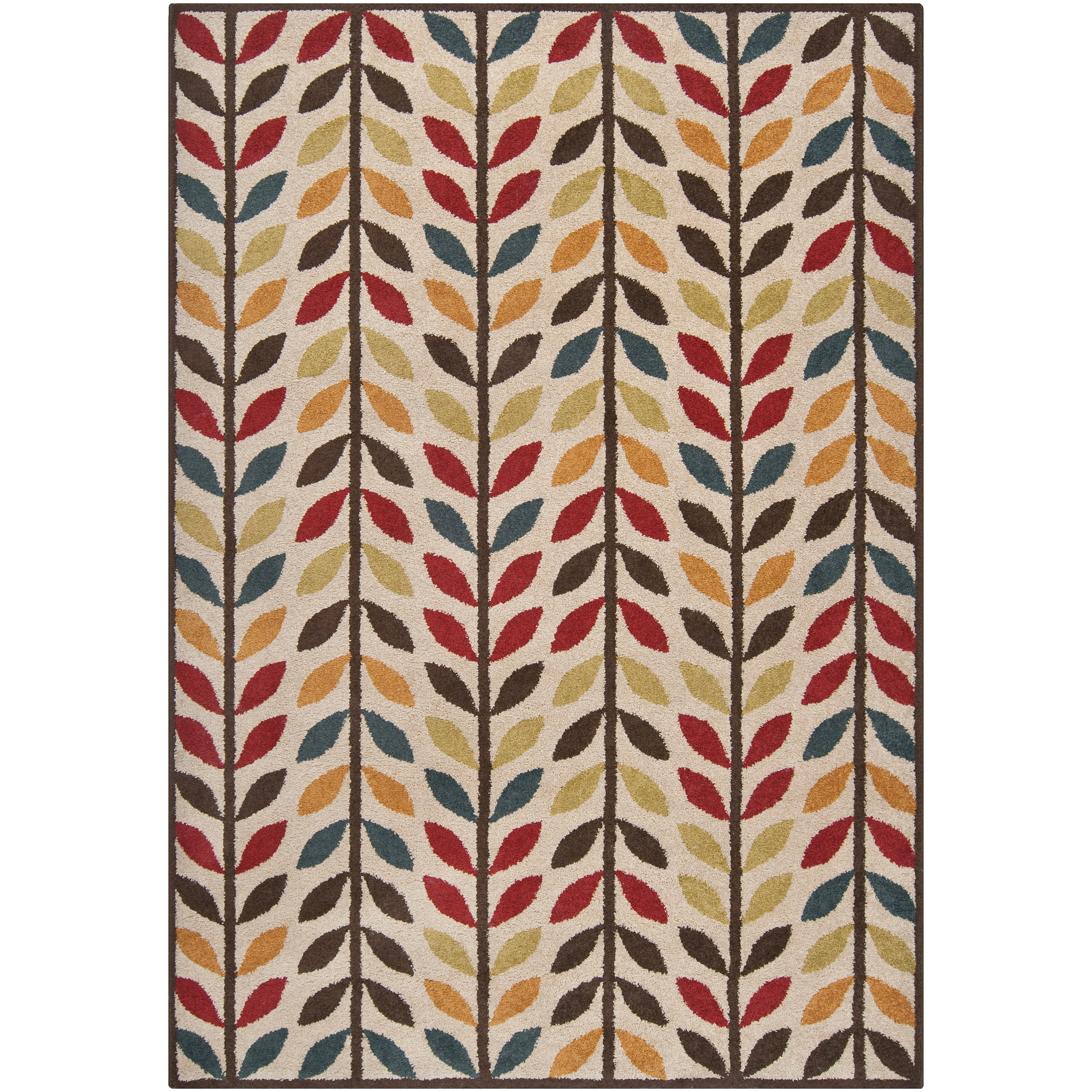 Meticulously Woven Contemporary Brown/Red Floral Frome Rug (7'10X10')