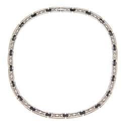 La Preciosa Stainless Steel Black Ceramic w/ Diamond-shaped Design Necklace|https://ak1.ostkcdn.com/images/products/6345775/La-Preciosa-Stainless-Steel-Black-Ceramic-w-Diamond-shaped-Design-Necklace-P13967148.jpg?impolicy=medium