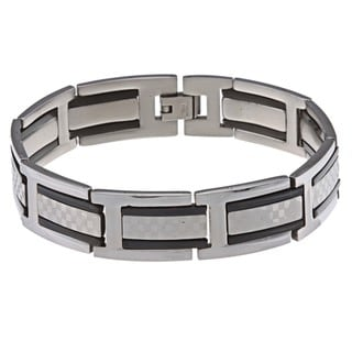 Link to La Preciosa Stainless Steel Black Checkered Link Bracelet Similar Items in Men's Jewelry