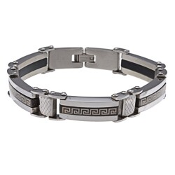 La Preciosa Stainless Steel Greek Key Design Bracelet