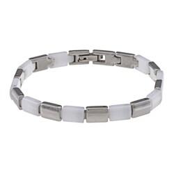 La Preciosa Stainless Steel and White Ceramic Alternating Link Bracelet