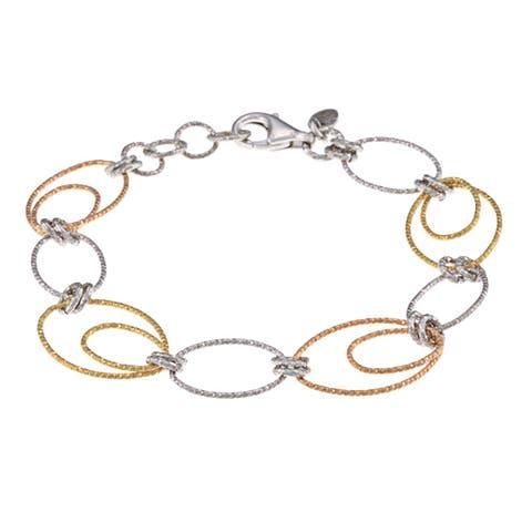La Preciosa Tri-color Sterling Silver D-C Oval and Circle Bracelet