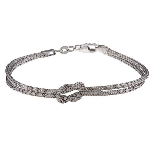 La Preciosa Sterling Silver Double-Strand Center Love Knot Bracelet