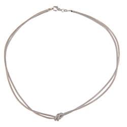 La Preciosa Sterling Silver Double-strand Center Knot Necklace