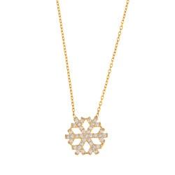 La Preciosa Sterling Silver GP CZ Snowflake Necklace