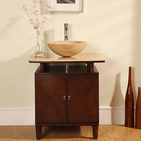 Silkroad Exclusive Travertine Stone Top 29-inch Bathroom Vanity