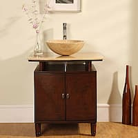 Silkroad Exclusive Travertine Stone Top 29-inch  Bathroom Vanity