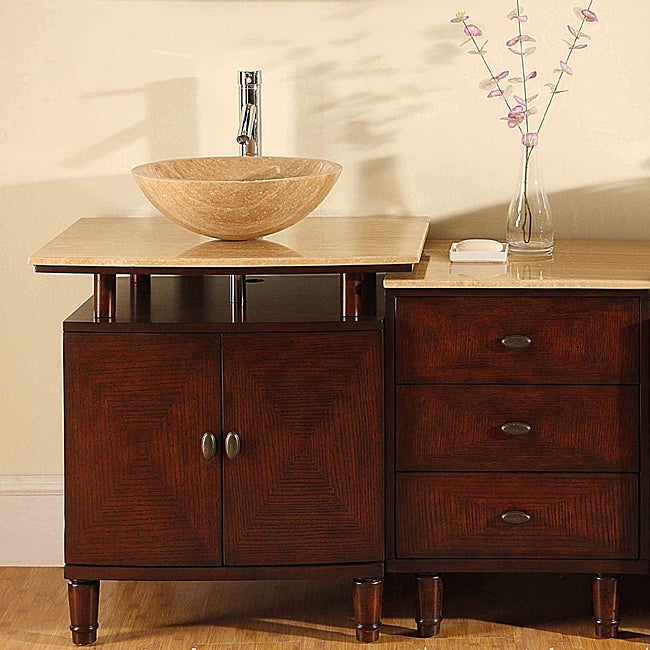 stone top 47 inch bathroom vessel vanity single sink cabinet