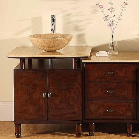 Silkroad Exclusive Travertine Stone Top 47-inch Bathroom Vessel Vanity Single Sink Cabinet