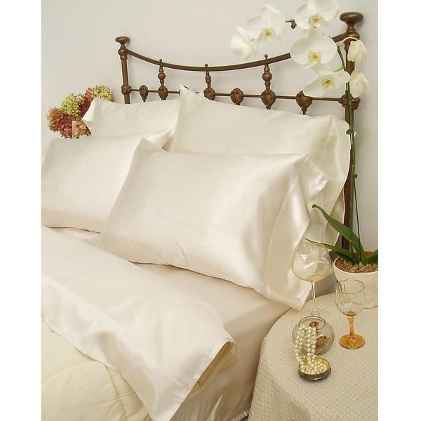 Charmeuse II Satin California King-size Sheet Set with Bonus Pillowcases