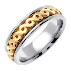 14k Two-tone Gold Celtic Men's Wedding Band