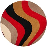 "Safavieh Handmade Rodeo Drive Contemporary Abstract Red/ Grey/ Black Wool Rug - 5'9"" x 5'9"" round"