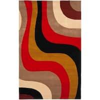 Safavieh Handmade Rodeo Drive Contemporary Abstract Red/ Grey/ Black Wool Rug - 5' x 8'