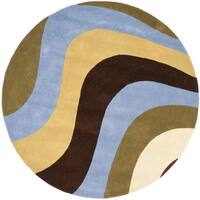 """Safavieh Handmade Rodeo Drive Contemporary Abstract Blue/ Green/ Brown Wool Rug - 5'9"""" x 5'9"""" Round"""