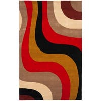 """Safavieh Handmade Rodeo Drive Contemporary Abstract Blue/ Green/ Brown Wool Rug - 7'6"""" x 9'6"""""""