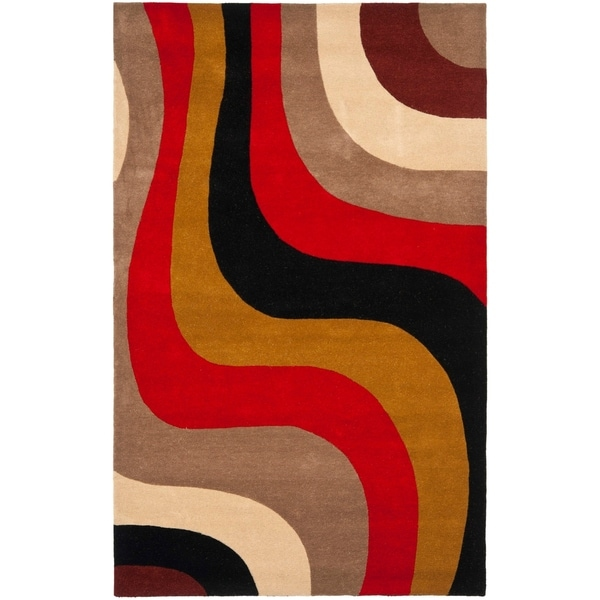 """Safavieh Handmade Rodeo Drive Contemporary Abstract Blue/ Green/ Brown Wool Rug - 7'-6"""" x 9'-6"""""""