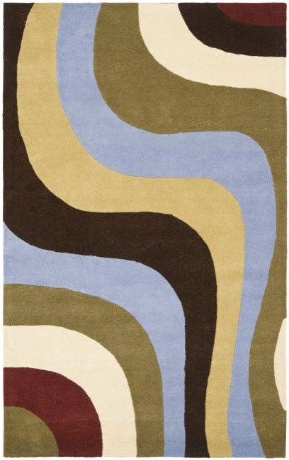 Safavieh Handmade Rodeo Drive Contemporary Abstract Blue/ Green/ Brown Wool Rug - 5' x 8'