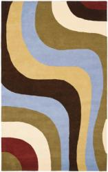 Safavieh Handmade Rodeo Drive Contemporary Abstract Blue/ Green/ Brown Wool Rug (5' x 8')