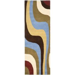Safavieh Handmade Rodeo Drive Contemporary Abstract Blue/ Green/ Brown Wool Rug (2'6 x 8')