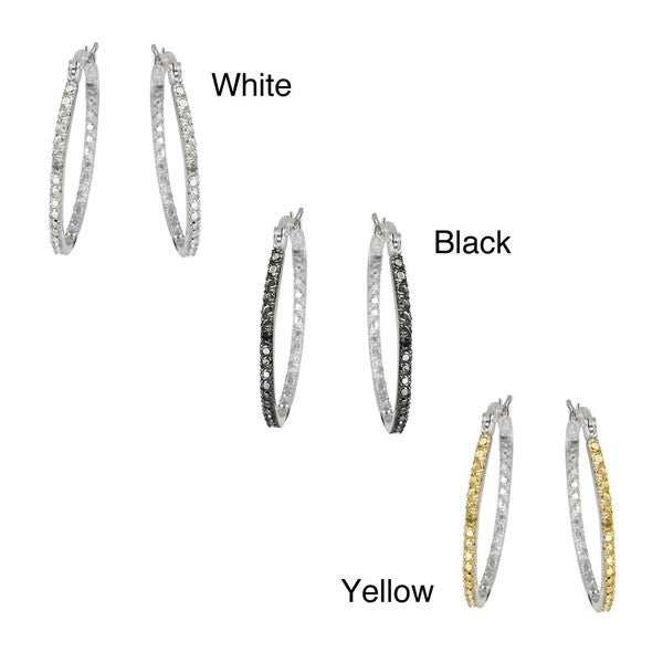 DB Designs Rhodiumplated In and Out Diamond Accent Oval Hoop Earrings