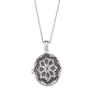 DB Designs Diamond Accent Star Design Oval Locket Necklace
