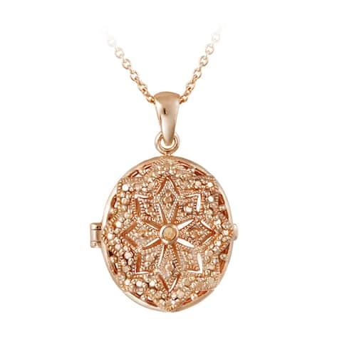 DB Designs Diamond Accent Star Design Oval Locket Necklace