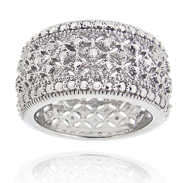 DB Designs Rhodium-plated 1/4ct TDW Diamond Eternity Band. Opens flyout.
