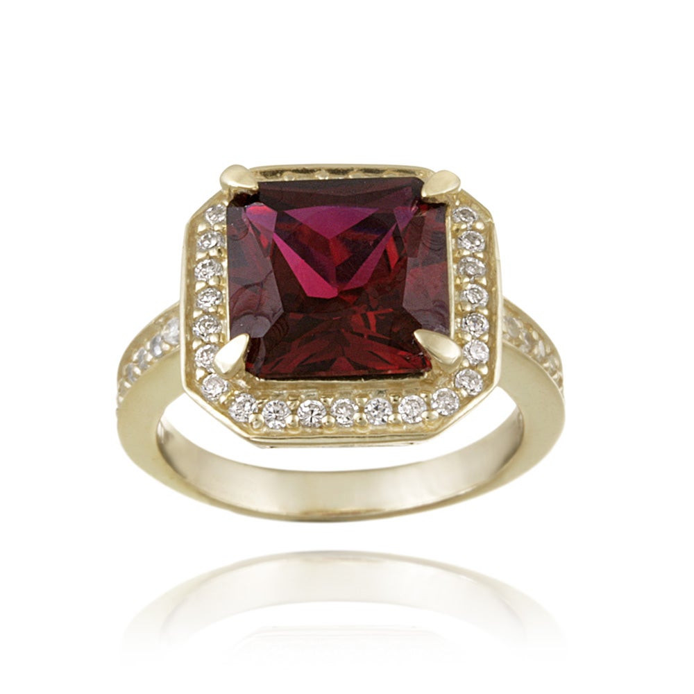 Glitzy Rocks Gold over Silver Lab-created Ruby and Cubic Zirconia Ring