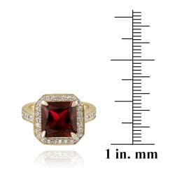 Glitzy Rocks Gold over Silver Lab-created Ruby and Cubic Zirconia Ring - Thumbnail 2
