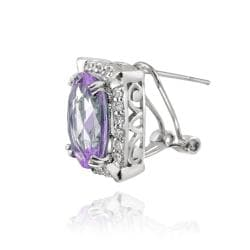 Thumbnail 2, Glitzy Rocks Rhodiumplated Oval Amethyst and Cubic Zirconia Earrings. Changes active main hero.