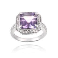 Glitzy Rocks Sterling Silver Amethyst and Cubic Zirconia Square Ring