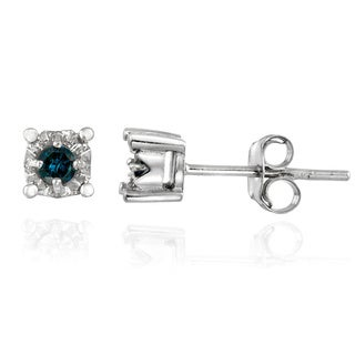 DB Designs Sterling Silver 1/8ct TDW Blue Diamond Crown Earrings