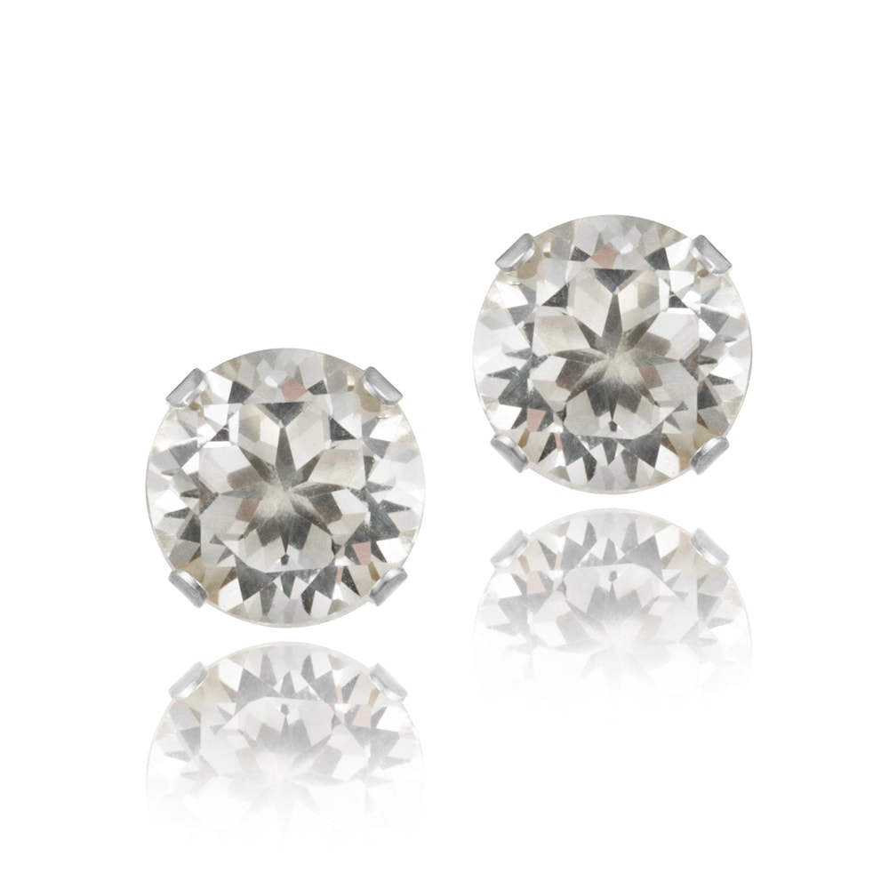 Glitzy Rocks Sterling Silver 3 1/5ct TGW White Topaz 7-mm Stud Earrings