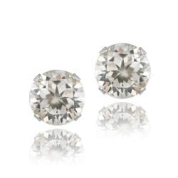 Glitzy Rocks Sterling Silver 3 1/5ct TGW White Topaz 7-mm Stud Earrings - Thumbnail 0