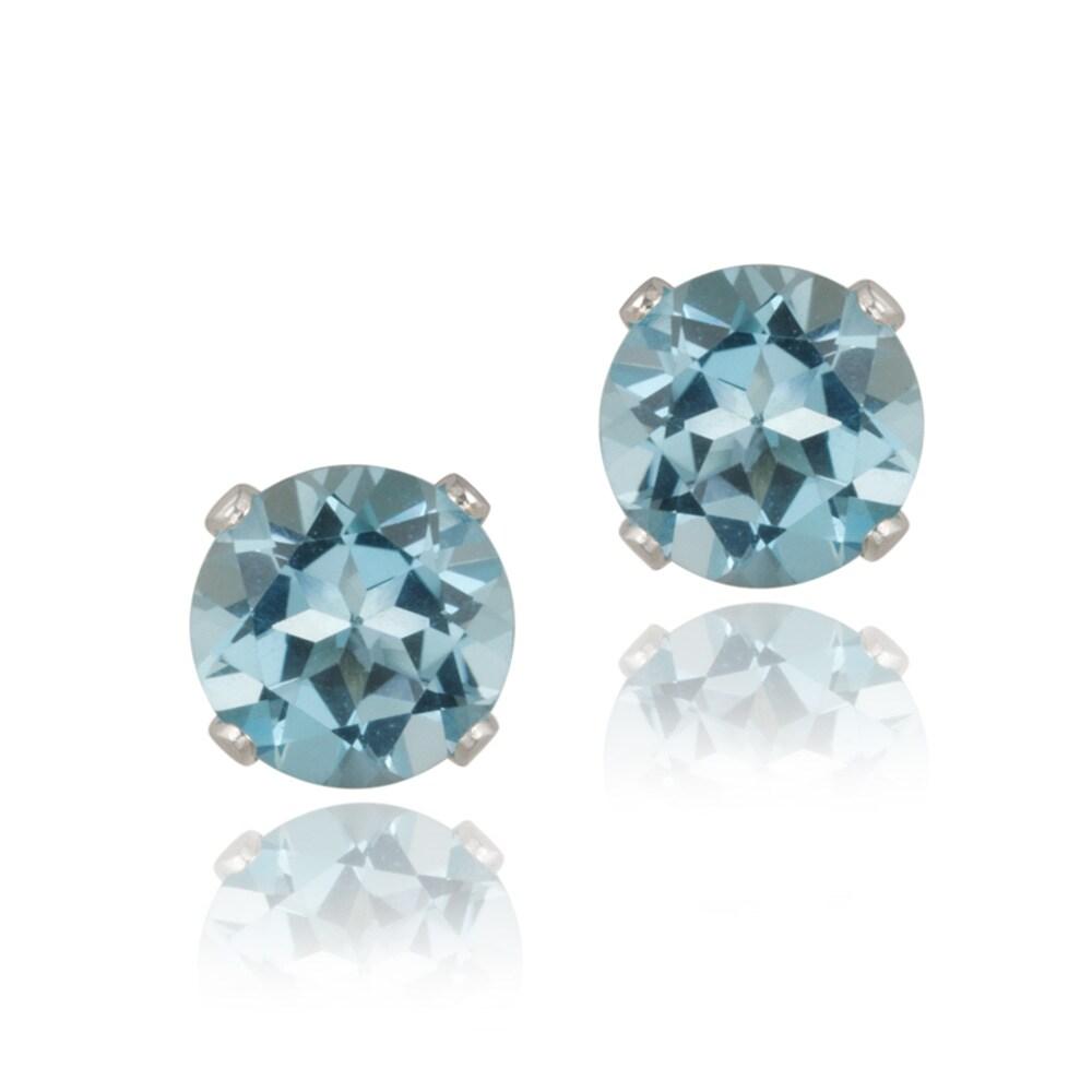 Glitzy Rocks Sterling Silver 3 1/5ct TGW Swiss Blue Topaz 7-mm Stud Earrings