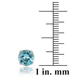 Glitzy Rocks Sterling Silver 3 1/5ct TGW Swiss Blue Topaz 7-mm Stud Earrings - Thumbnail 2