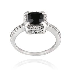 Glitzy Rocks Sterling Silver 1 3/4ct TGW Square Black Spinel Ring