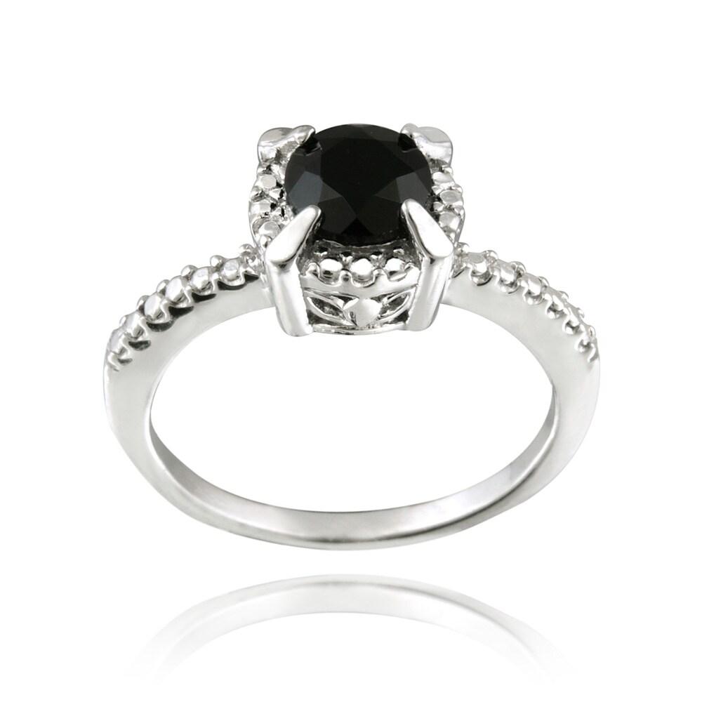 Glitzy Rocks Sterling Silver 1 3/5ct TGW Round Black Spinel Ring