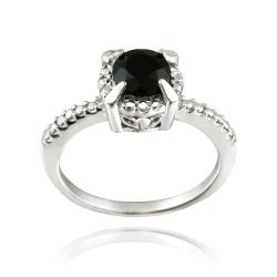 Glitzy Rocks Sterling Silver 1 3/5ct TGW Round Black Spinel Ring