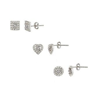 DB Designs Two-tone Diamond Accent Circle, Square and Heart Earrings Set (3 options available)