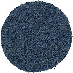 Hand Tied Pelle Blue Leather Shag Rug 6' x 6'