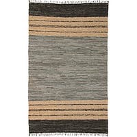 Hand-woven Matador Grey Leather Rug (9' x 12') - 9' x 12'