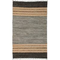 Hand-woven Matador Grey Leather Rug (9' x 12') - 9' x 12'
