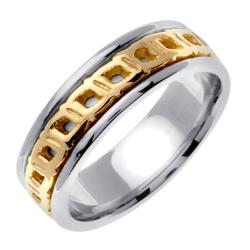 14k Two-tone Gold Celtic Buckle Design Men's Wedding Band - Thumbnail 1