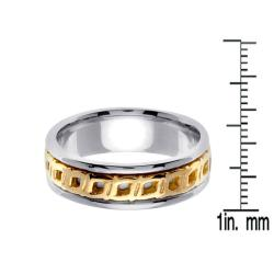 14k Two-tone Gold Celtic Buckle Design Men's Wedding Band - Thumbnail 2